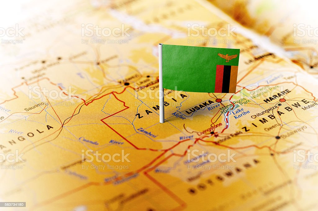 Zambia pinned on the map with flag - Lizenzfrei Afrika Stock-Foto