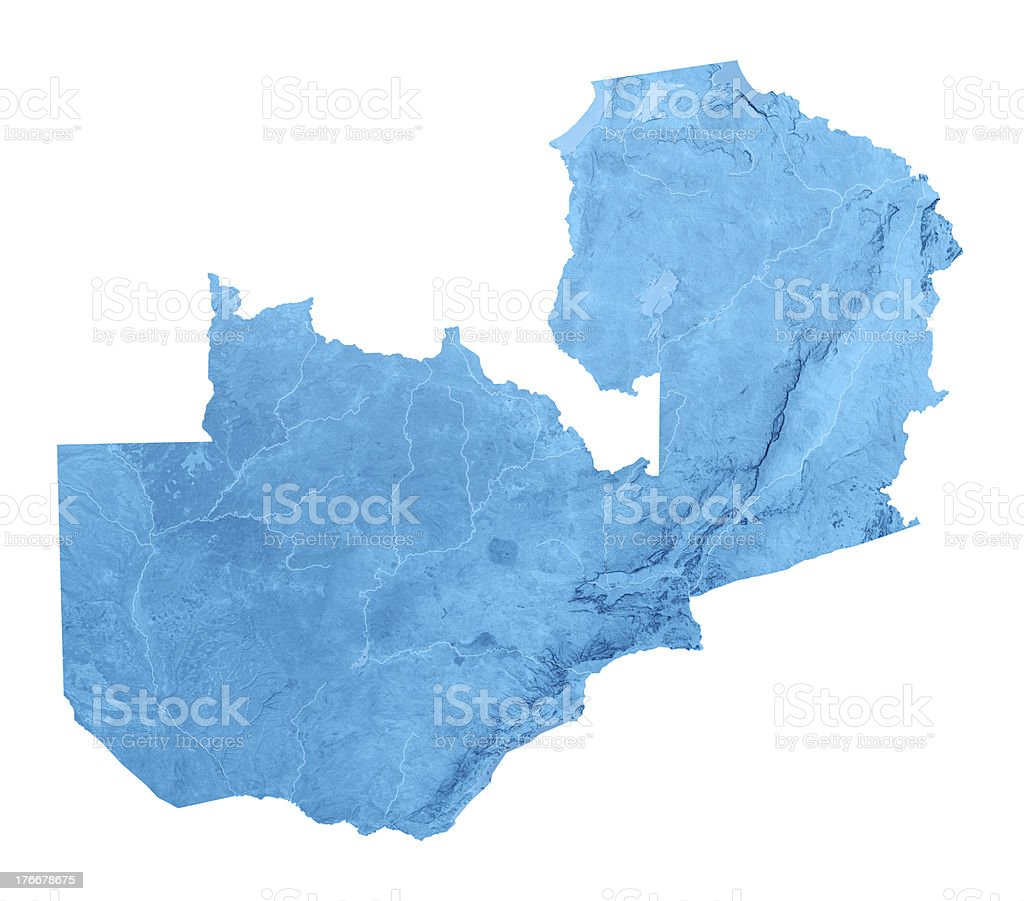 Zambia Topographic Map Isolated royalty-free stock photo