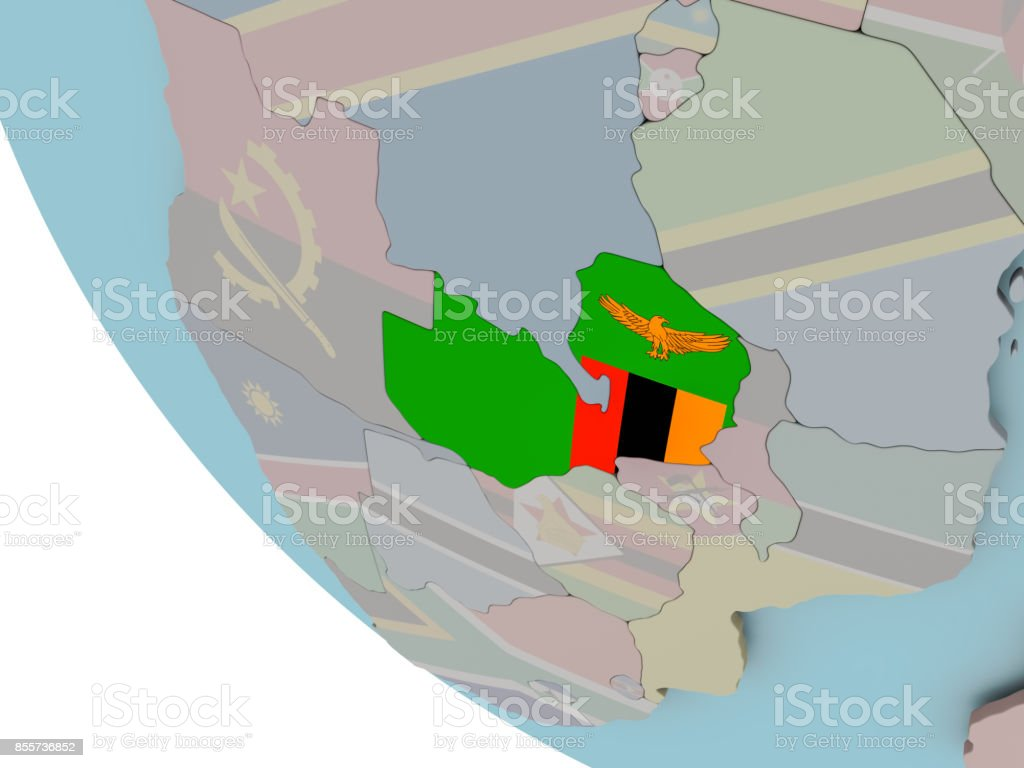 Zambia with flag illustration stock photo