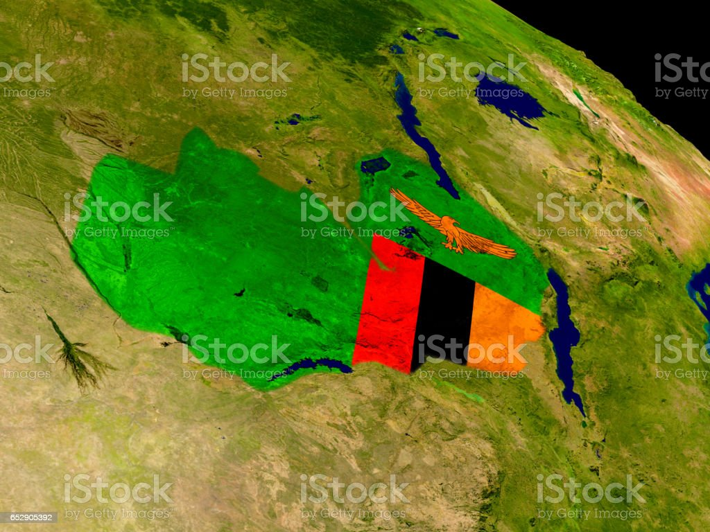 Zambia with flag on Earth stock photo
