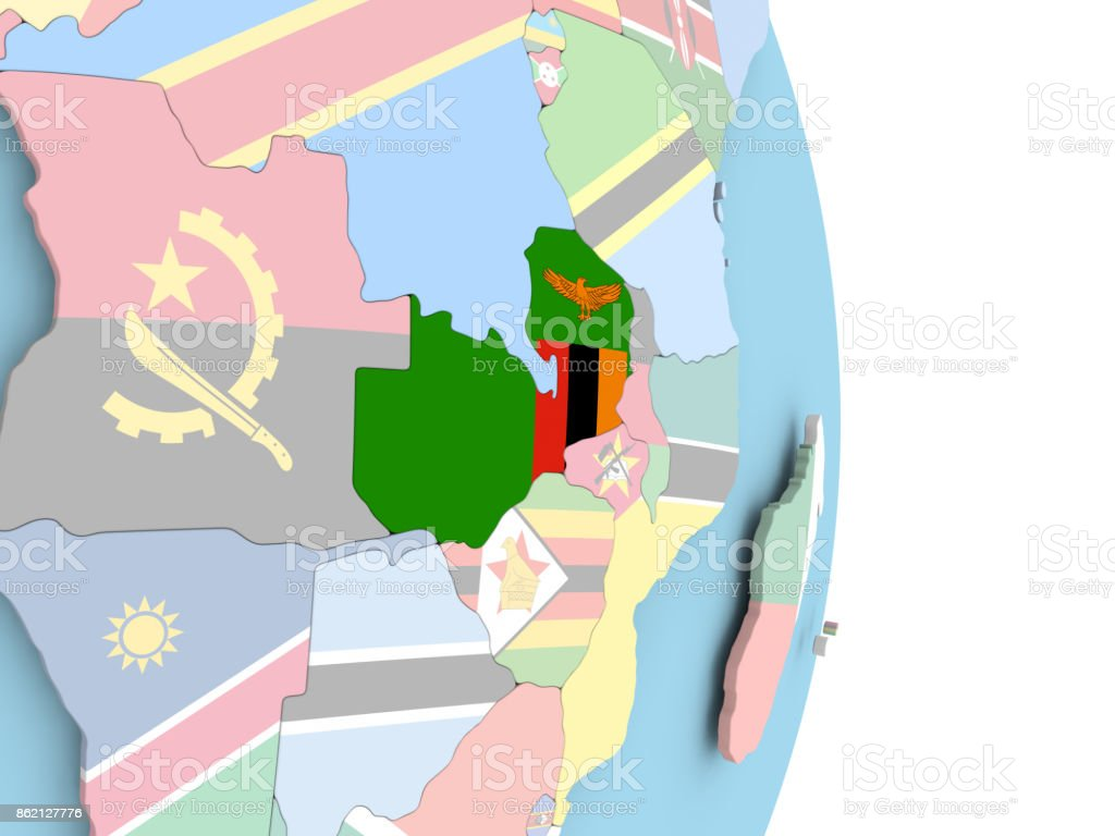 Zambia with flag on globe stock photo