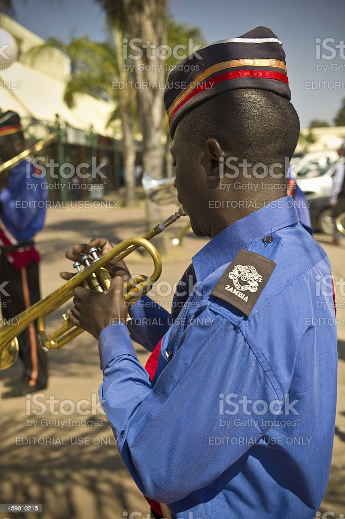 Zambian Brass Band player royalty-free stock photo