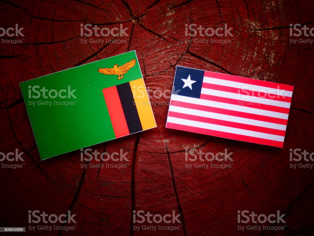 Zambian flag with Liberian flag on a tree stump isolated stock photo
