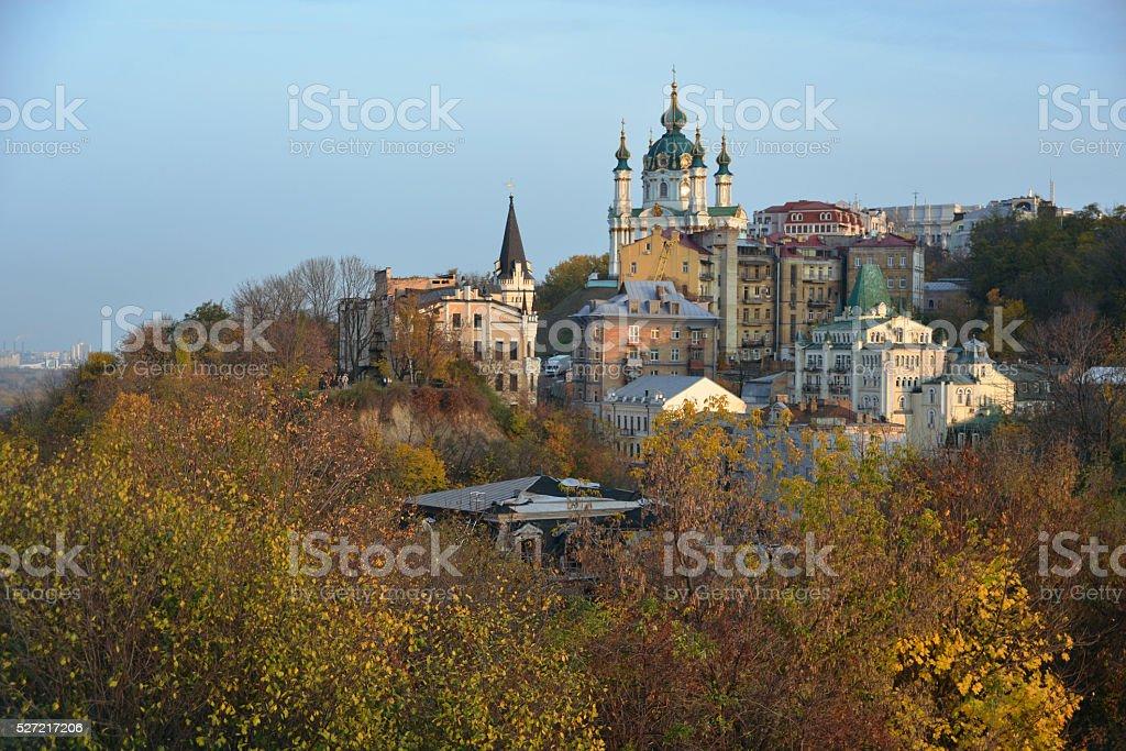 Zamkova Hora and Saint Andrew's Church - Kiev stock photo