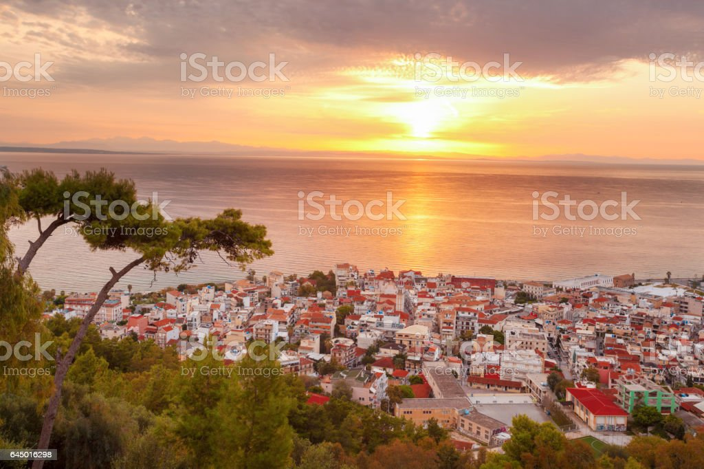 Zante town during sunrise on Zakynthos island in Greece stock photo