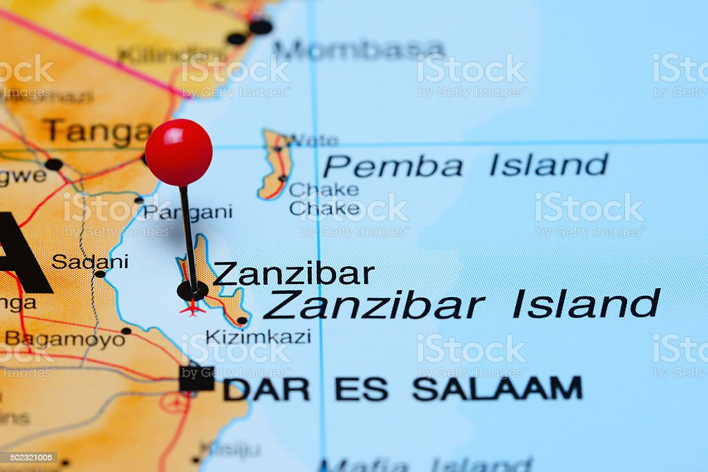 Map Of Africa Zanzibar.Zanzibar Pinned On A Map Of Africa Stock Photo Download Image Now
