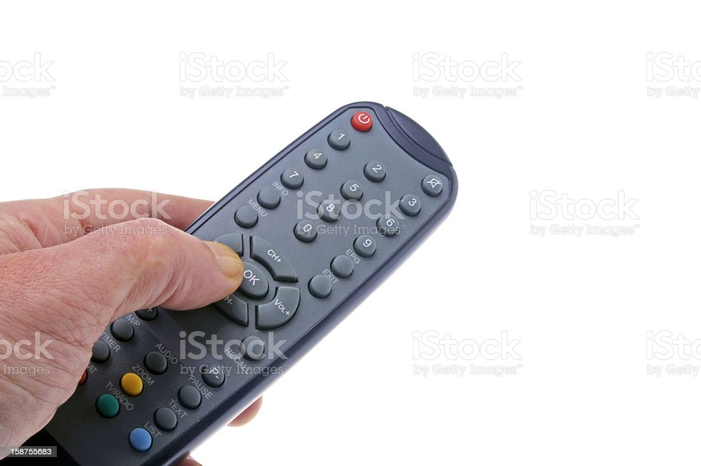 zapping with remotecontrol stock photo