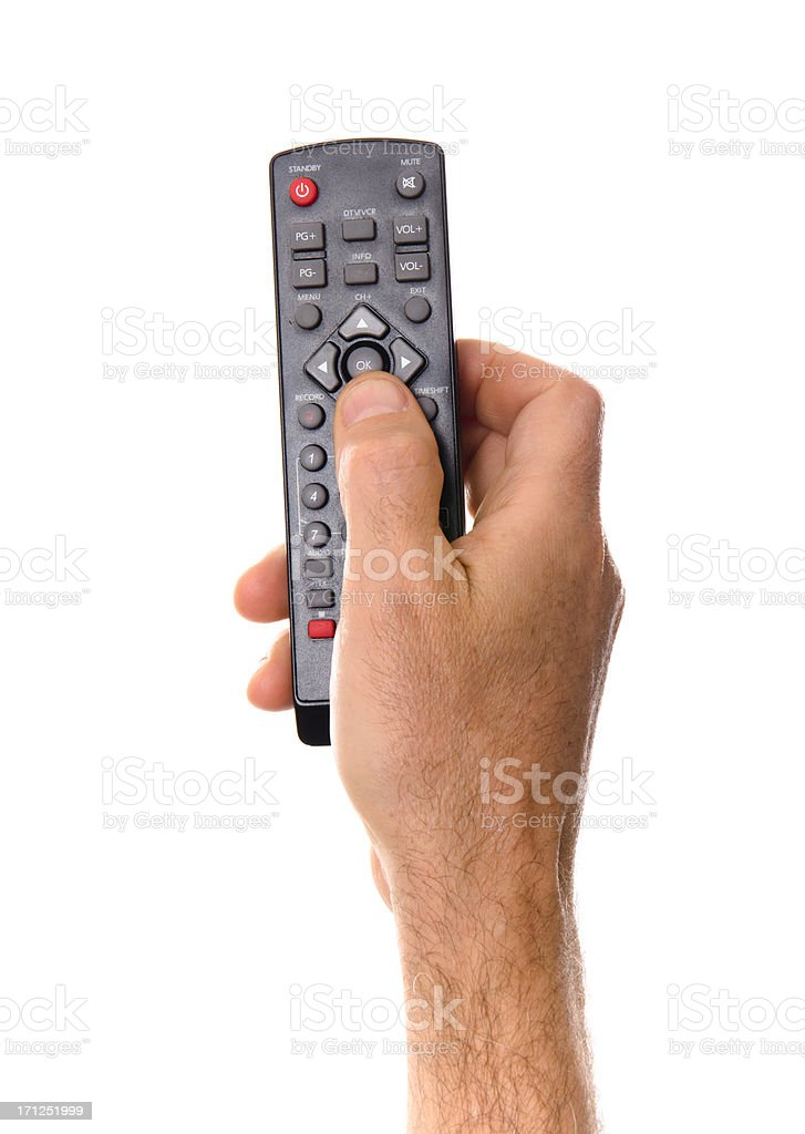 Zapping with tv remote control royalty-free stock photo