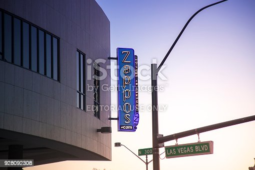 An editorial stock photo of the Zappos.com HQ in Downtown Las Vegas, NV. Zappos.com is an online shoe and clothing shop based in Las Vegas, Nevada and was purchased by Amazon in 2009.