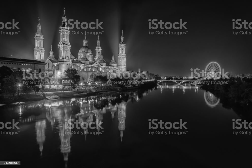 Zaragoza at Night stock photo