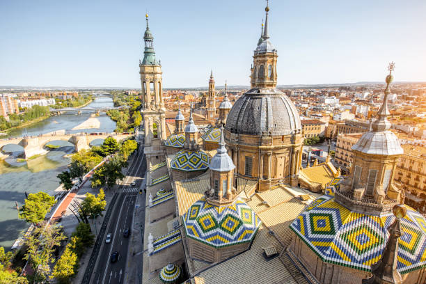 Zaragoza city in Spain Aerial cityscape view on the roofs and spires of basilica of Our Lady in Zaragoza city in Spain basilica stock pictures, royalty-free photos & images