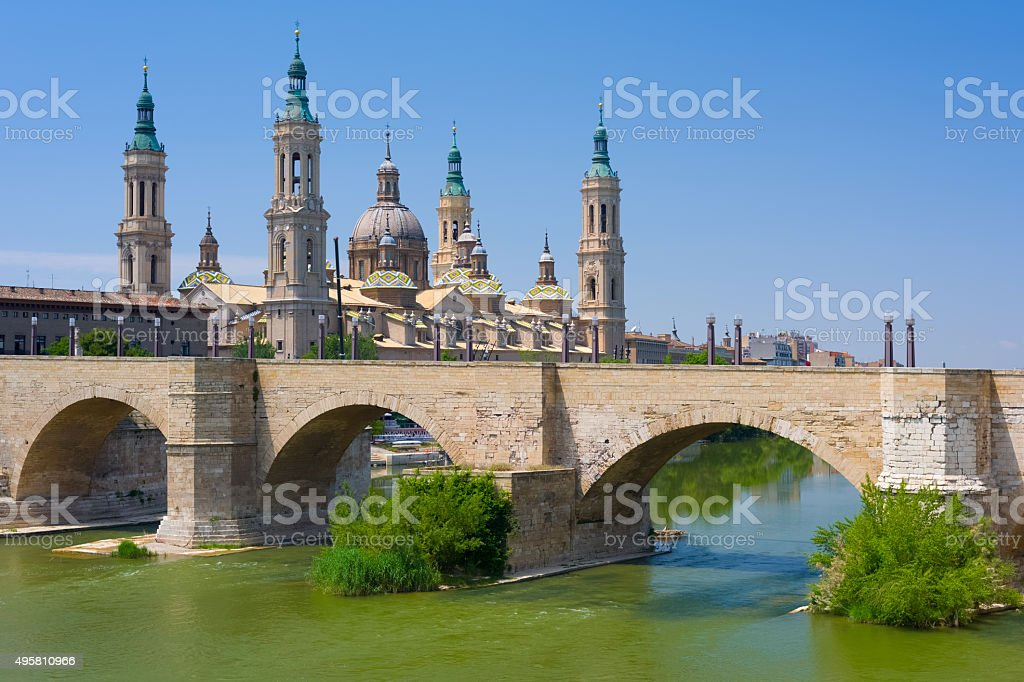 Zaragoza in a summer day stock photo
