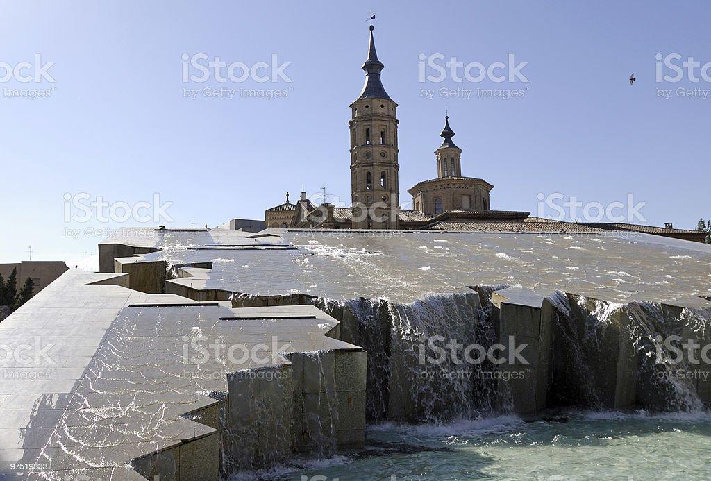 Zaragoza (Spain) - Plaza del Pilar, fountain royalty-free stock photo