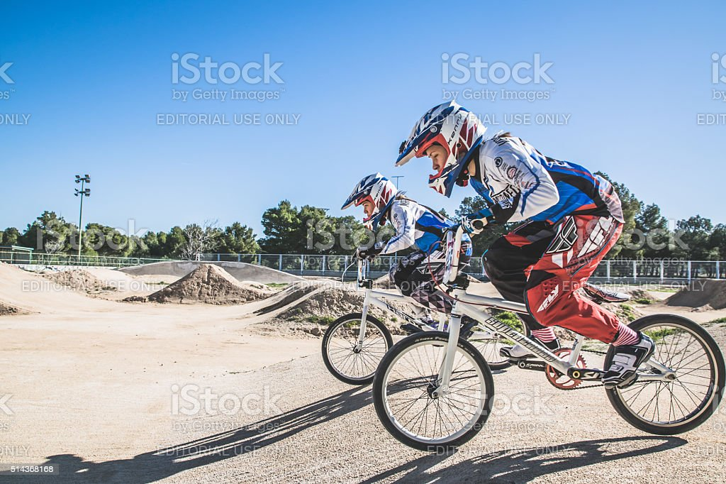 Zaragoza, Spain. 8 march 2016. BMX Race competition stock photo