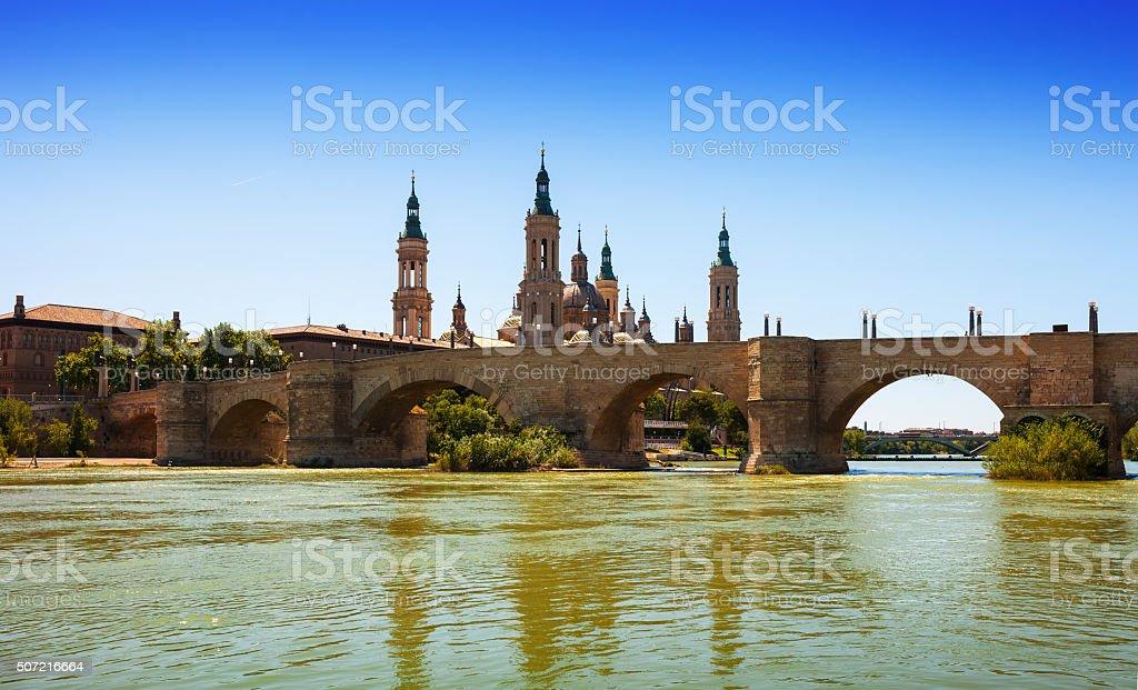 Zaragoza. Stone bridge and Cathedral stock photo
