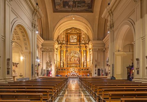 Zaragoza - The nave of the church Basílica de Santa Engracia.