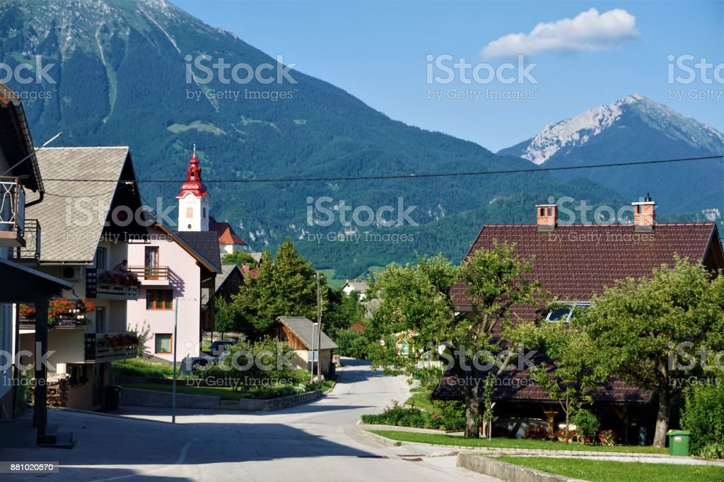 Zasip downtown with breathtaking mountain panorama stock photo