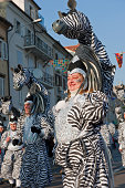 Rijeka,Croatia-March 6, 2011:Masks of zebra in carnival procession in Rijeka. It is a traditional procession held every year. This year is a 28th with more then 100 masked groups and 9000 participants