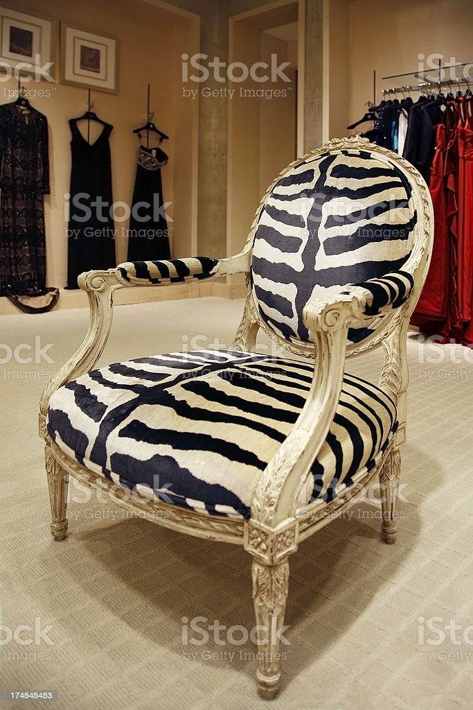 Zebra chair stock photo