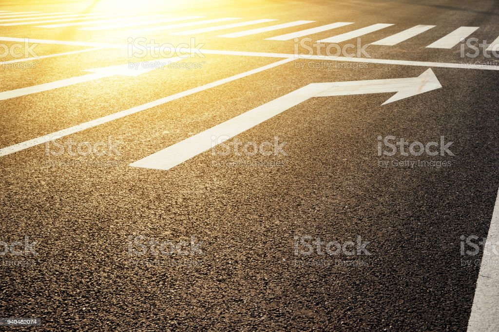 Zebra Crossing and  traffic sign background  at sunset stock photo