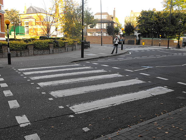 Zebra crossing at Abbey Road stock photo