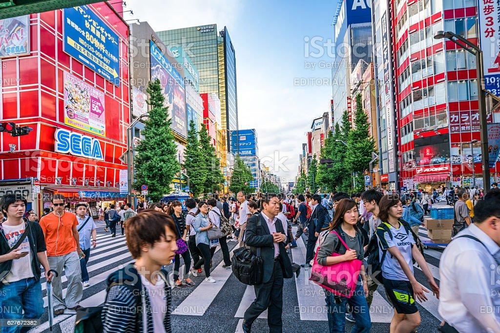 Zebra crossing in Akihabara shopping District, Tokyo, Japan stock photo
