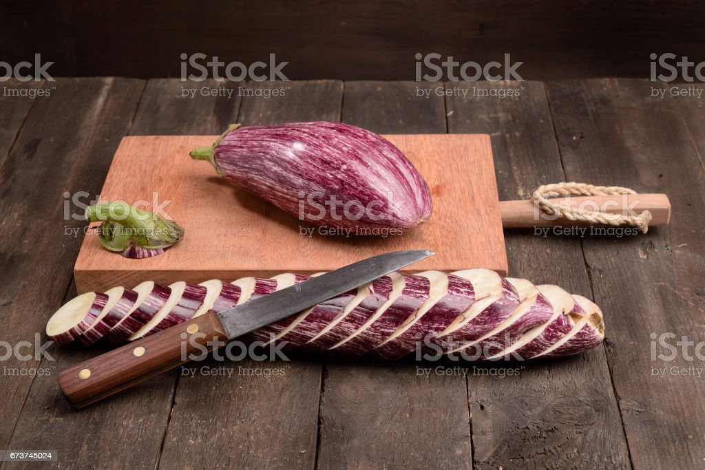 Zebra eggplant chopping board photo libre de droits