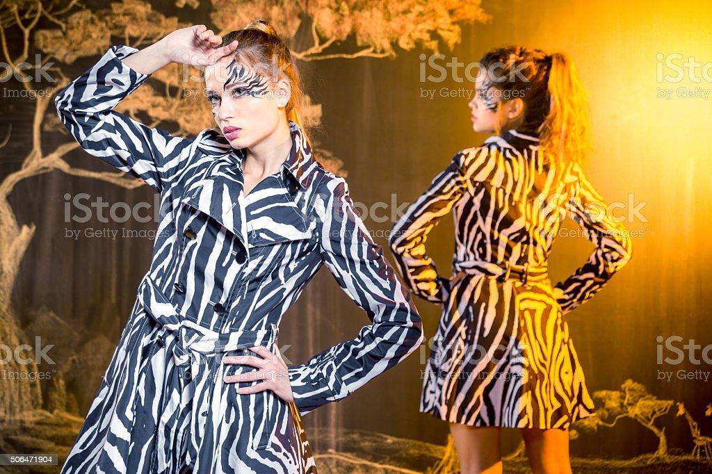 Zebra Fashion For Two Lovely Women stock photo