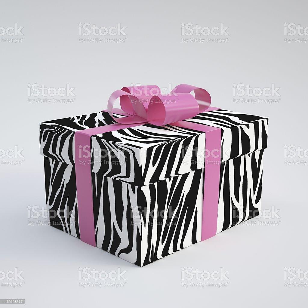 Zebra Gift Box stock photo
