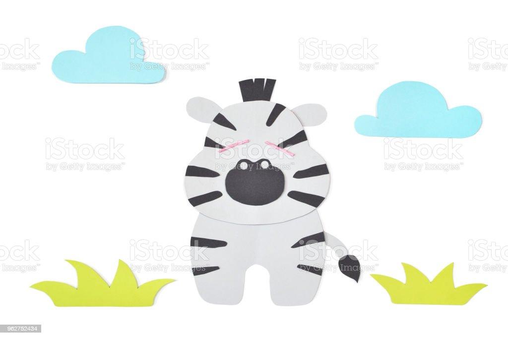 Zebra paper cut on white background - Foto stock royalty-free di Album di ritagli