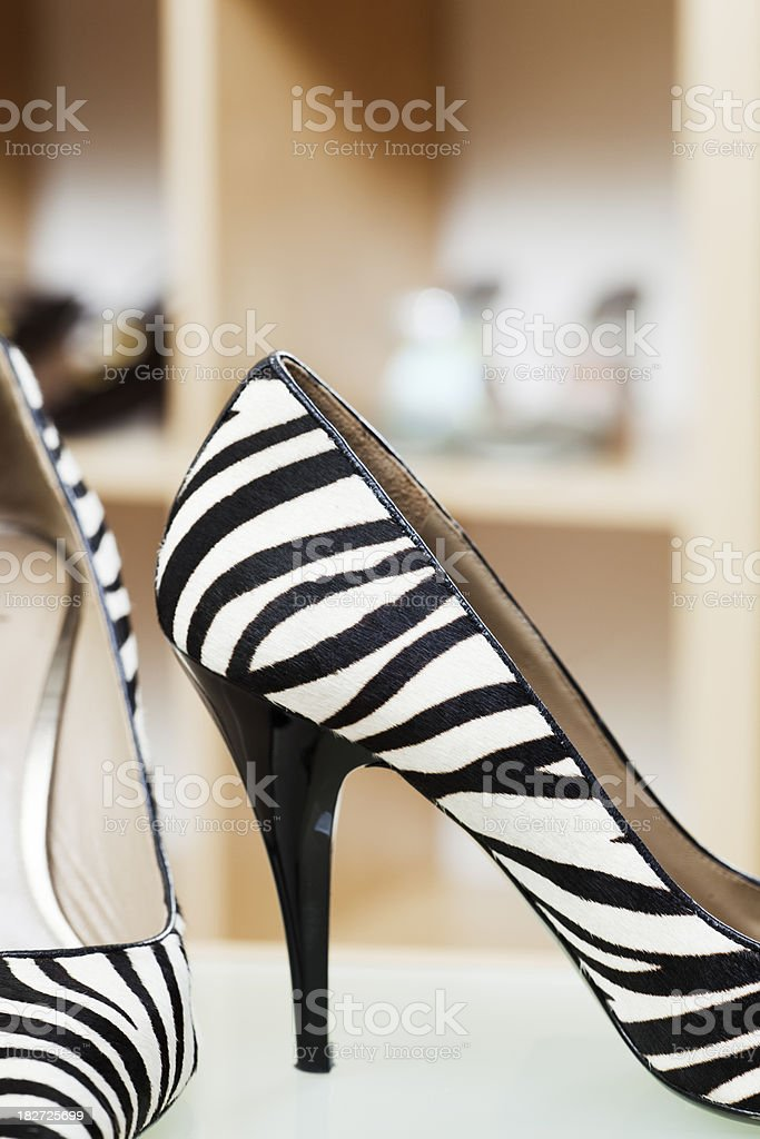 Zebra Striped Spike High Heel Shoes Retail Store Display royalty-free stock photo