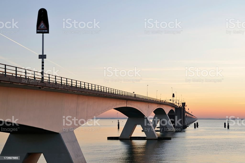Zeeland bridge at dusk in Zeeland,the Netherlands royalty-free stock photo
