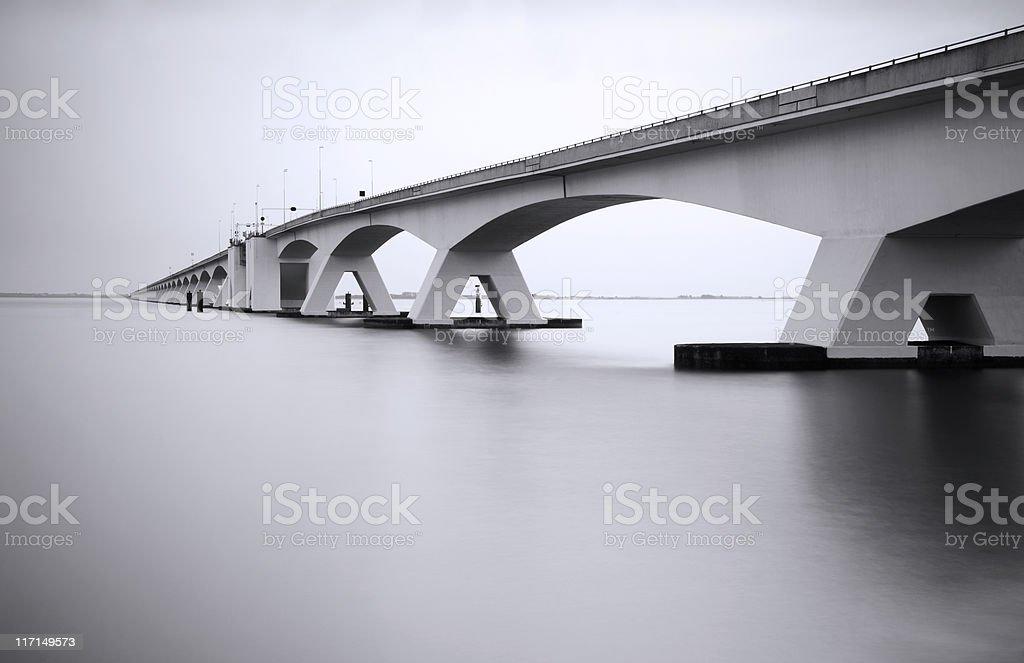 Zeeland Bridge in long exposure stock photo
