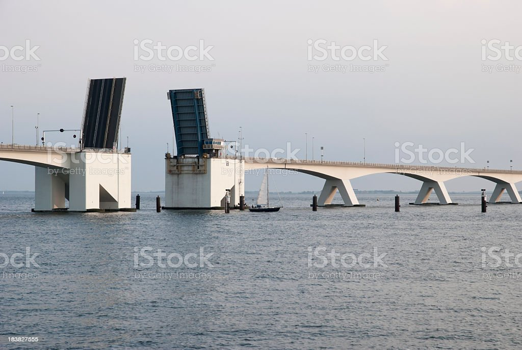 Zeeland Bridge opened for sailboats stock photo