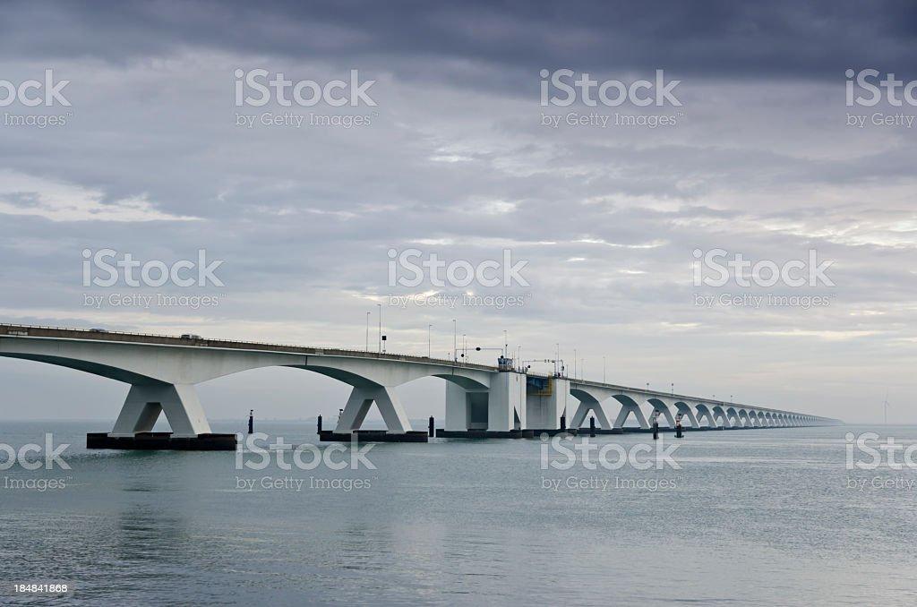 Zeeland Bridge - overcast weather royalty-free stock photo
