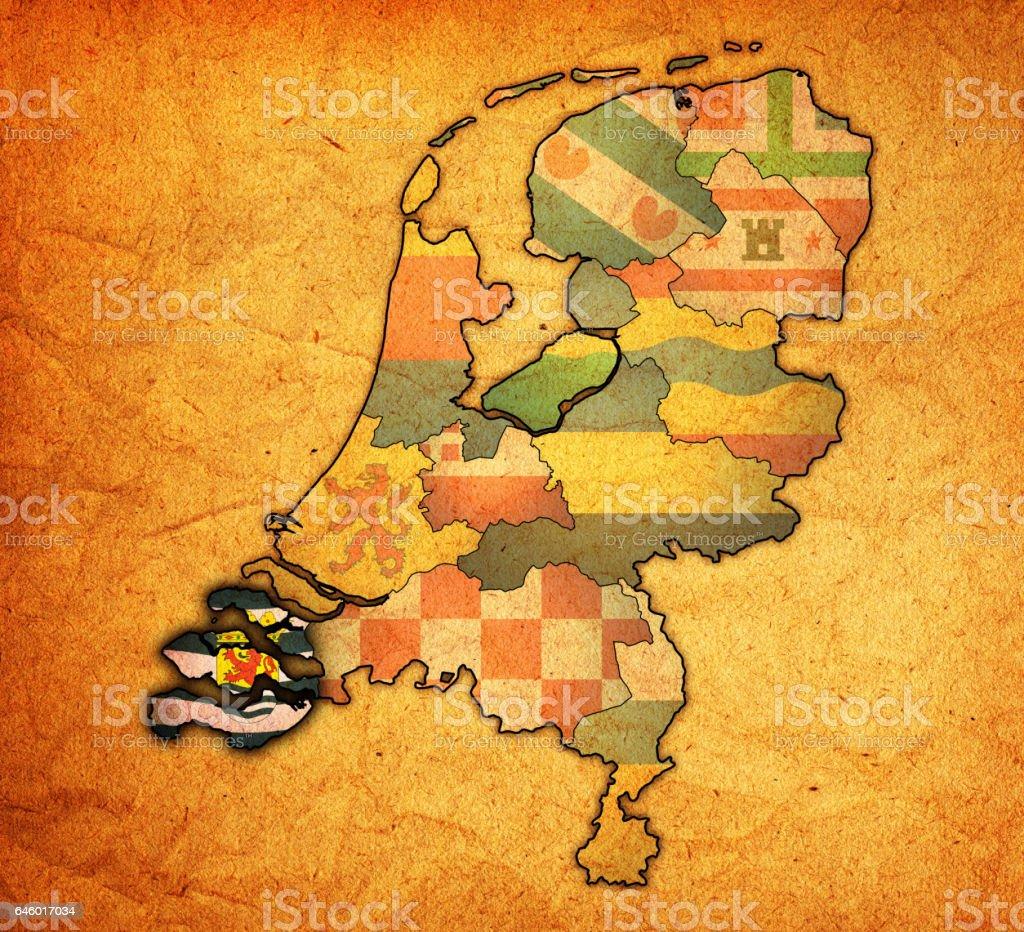 地図オランダのゼーラント州旗 -...