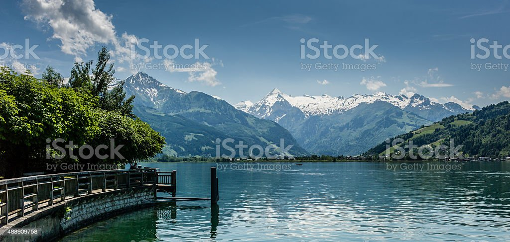 Zell am See Lake view to Kitzsteinhorn stock photo
