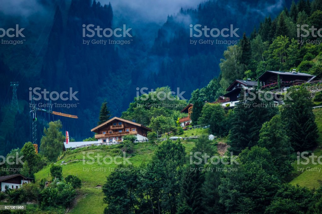 Zell am See Mountainside Homes stock photo