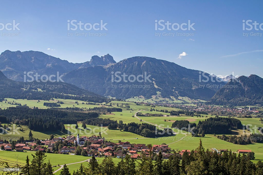Zell in the Allgaeu foothills of the Alps stock photo