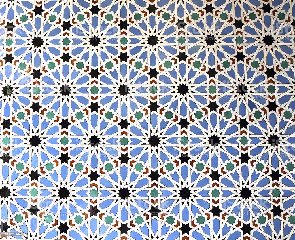 Zellige Tiles, Patio de las Doncellas, Real Alcázar, Seville, Spain stock photo
