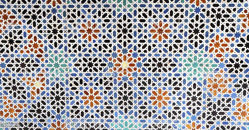 Zellige Tiles, Patio de las Doncellas, Real Alcázar, Seville, Spain stock photo