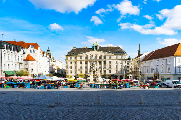 Zelný trh or Zelňák square with Parnas Fountain in the old town of Brno Zelný trh or Zelňák square with Parnas Fountain in the old town of Brno - Moravia, Czech Republic brno stock pictures, royalty-free photos & images