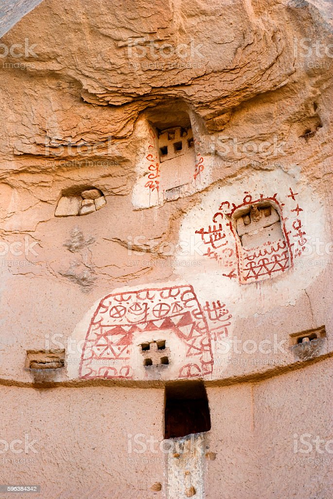 Zemi Valley wall paintings and carvings in Cappadocia, Turkey stock photo