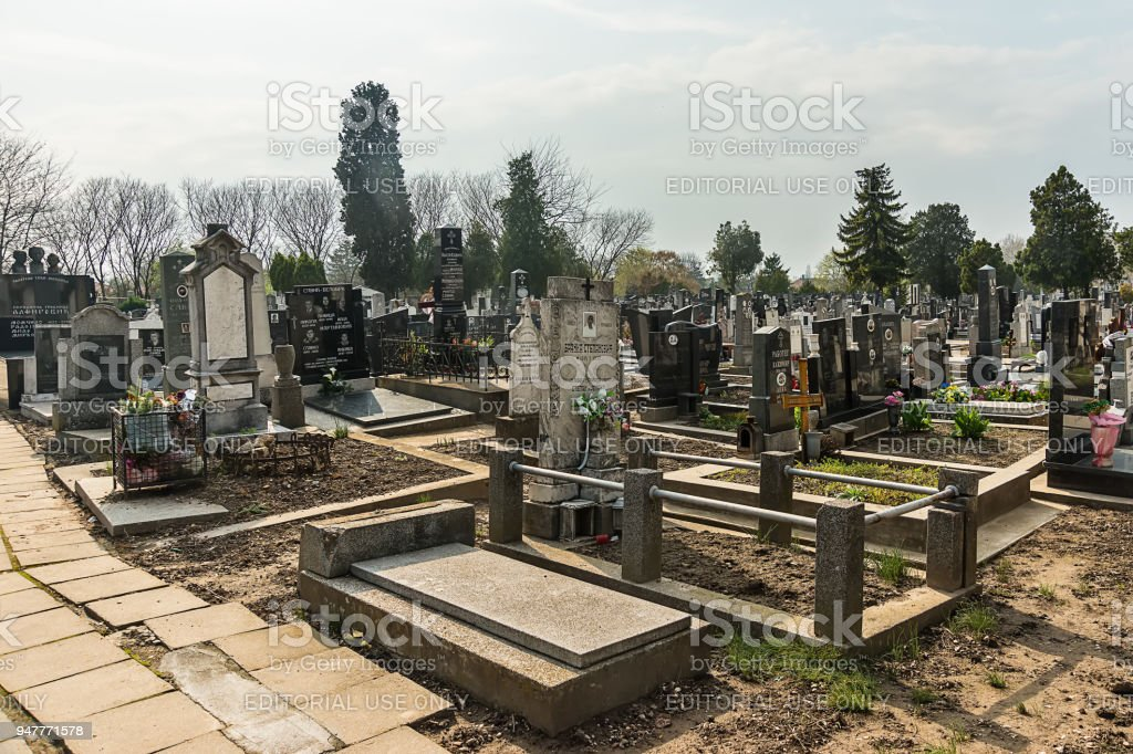 Zemun cemetery is the public cemetery situated in Zemun on the Gardos Hill. stock photo