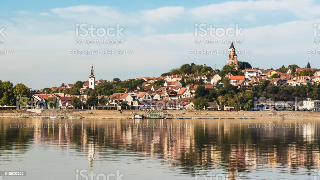 Zemun iew from Danube river stock photo