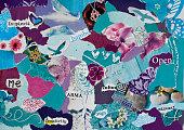 zen atmosphere mood board collage sheet  in purple,blue pink
