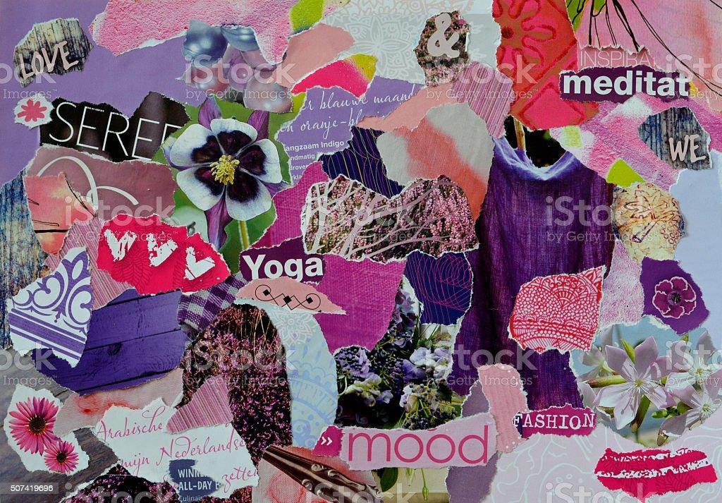 zen atmosphere mood board collage sheet  in purple,blue pink stock photo