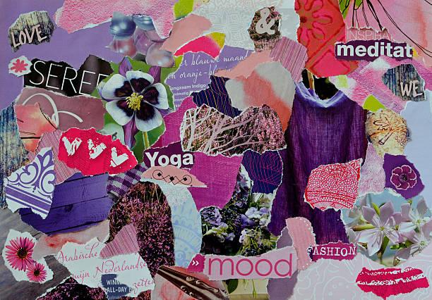 atmosfera zen humor placa colagem folha em roxo, azul-de-rosa - mood board - fotografias e filmes do acervo