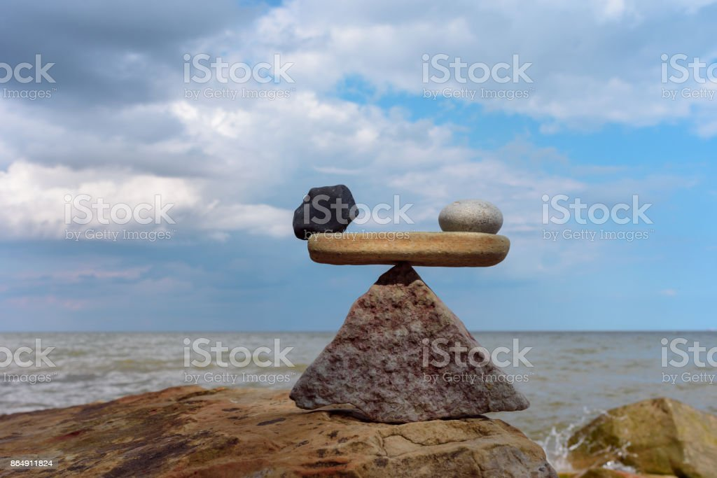 Zen balance on coast stock photo