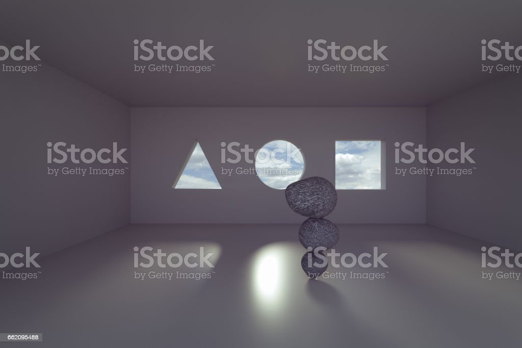 zen balance stone in the room royalty-free stock photo